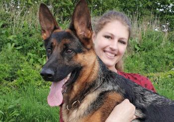 Grace Briggs and Karma, the German Shepherd