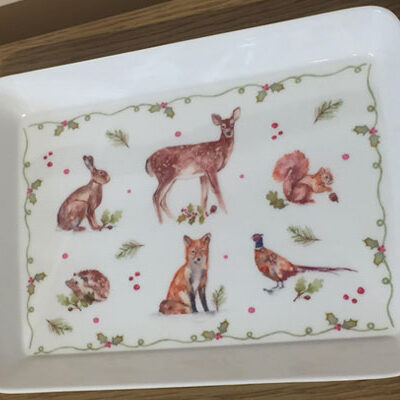 Winter Forest Drinks Tray for 2 Mugs